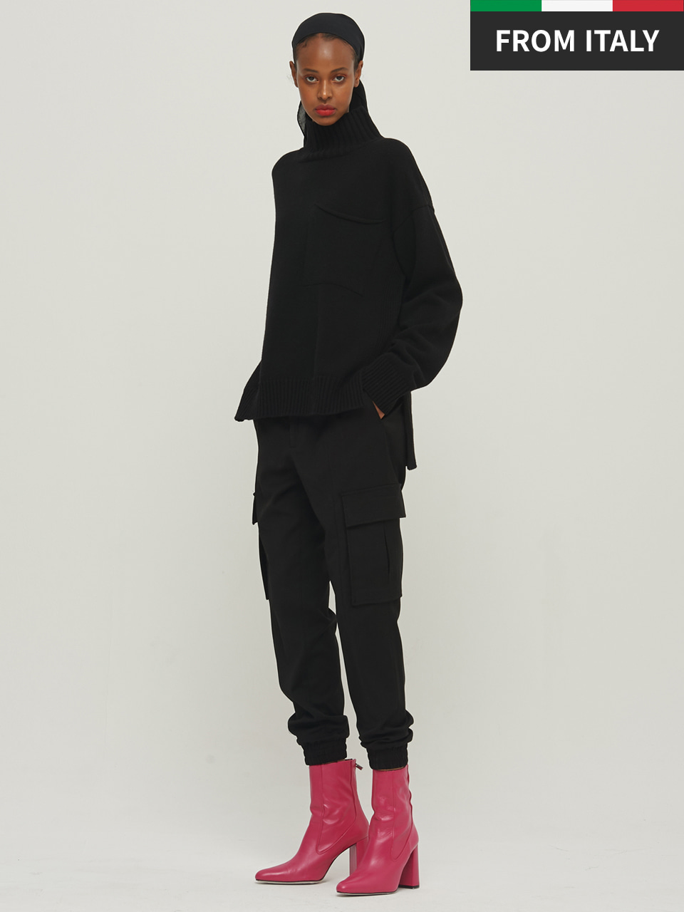 ⓗ [Premium] POCKET HIGH NECK PULLOVER_BLACK
