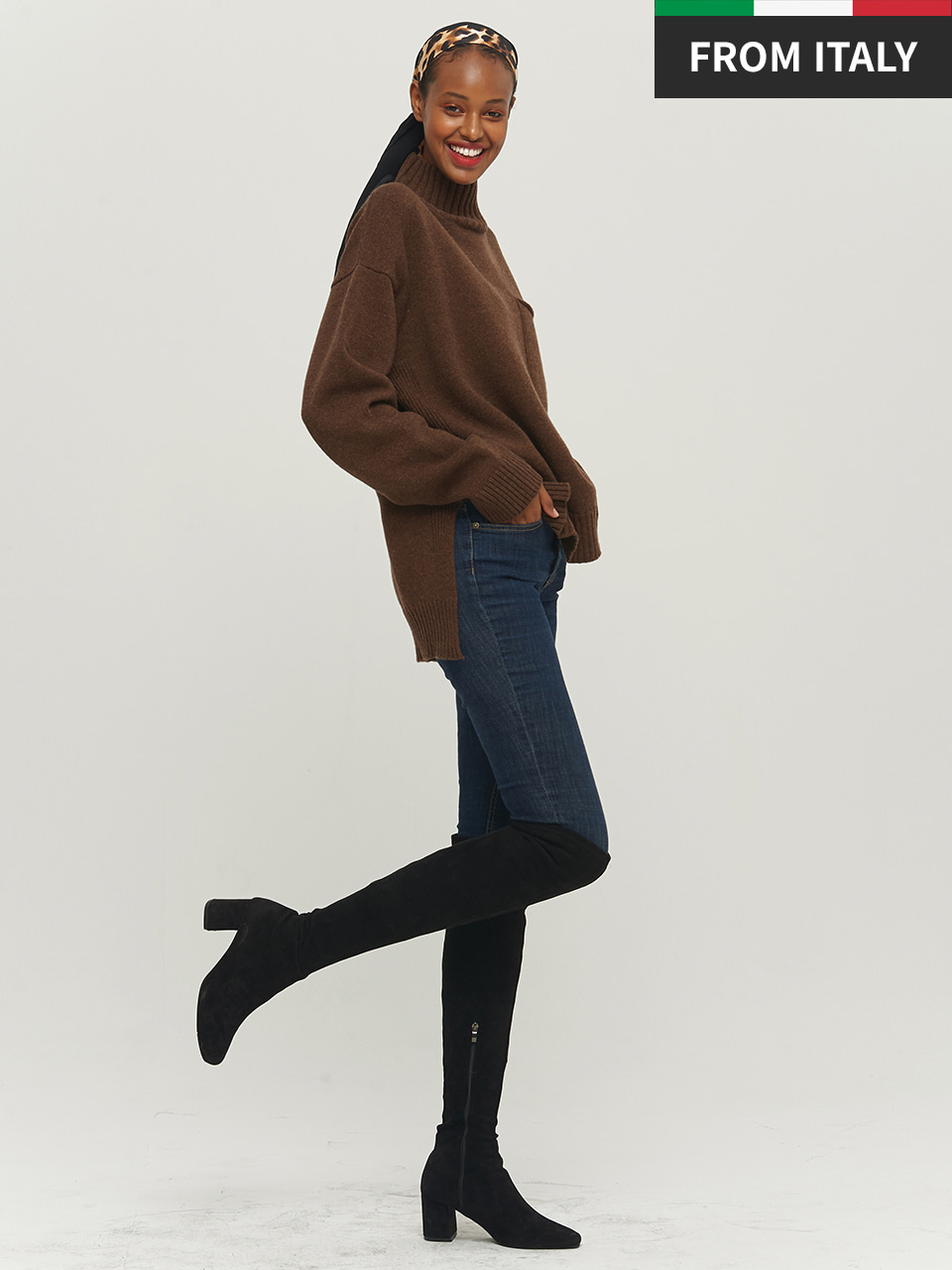 ⓗ [Premium] POCKET HIGH NECK PULLOVER_DARK BROWN