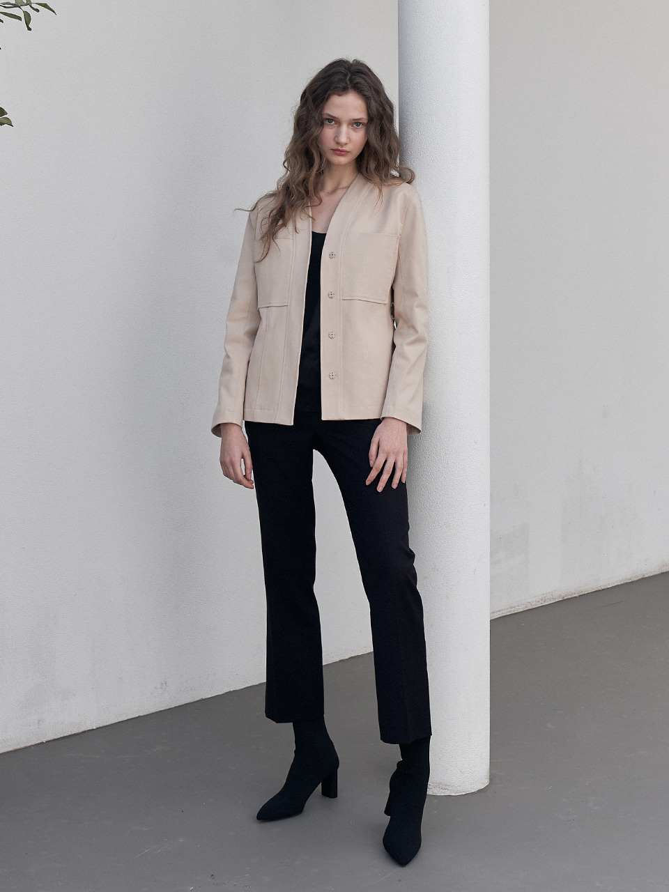 COLLARLESS BELT JACKET_BEIGE